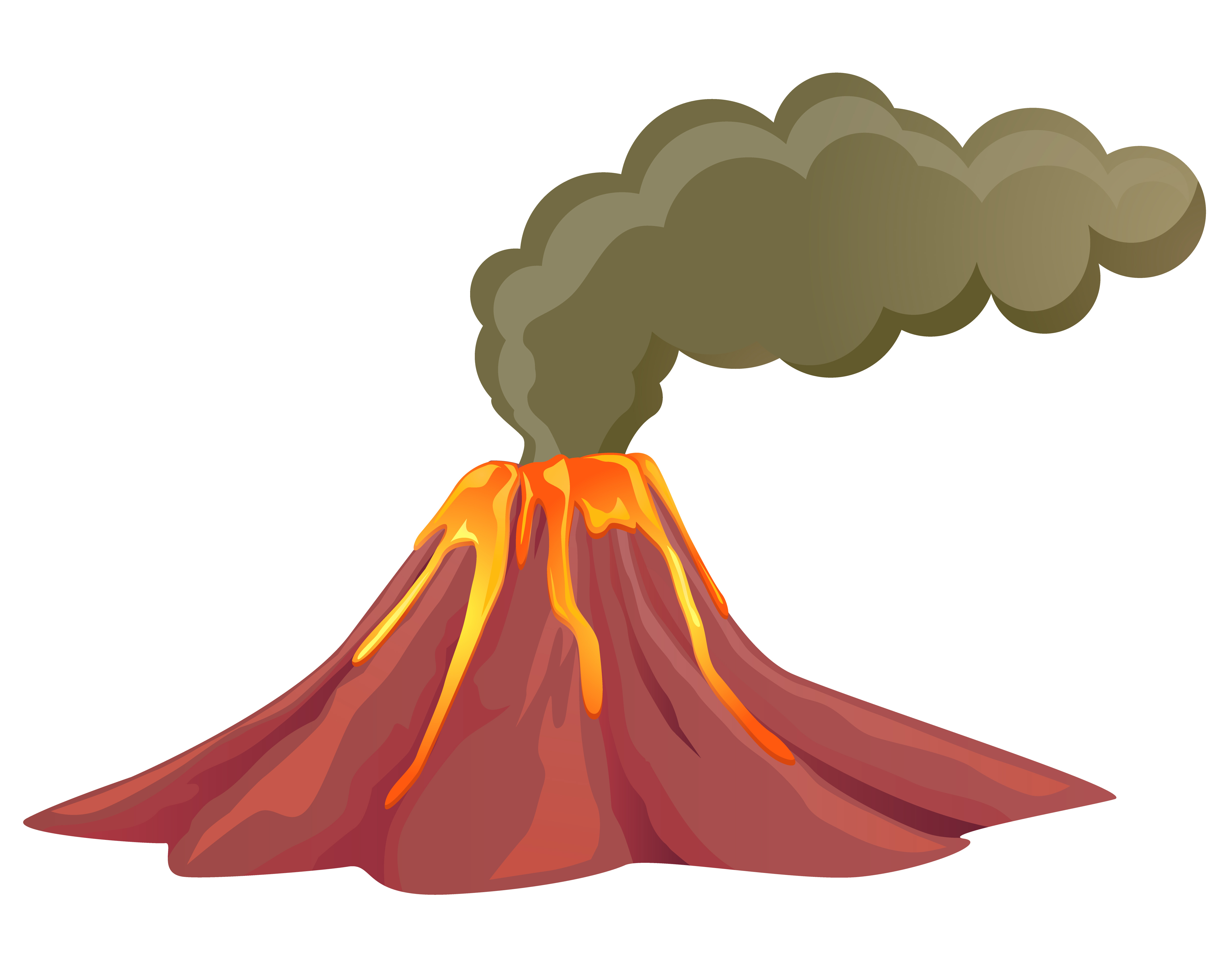 Smoking volcano with lava flowing down